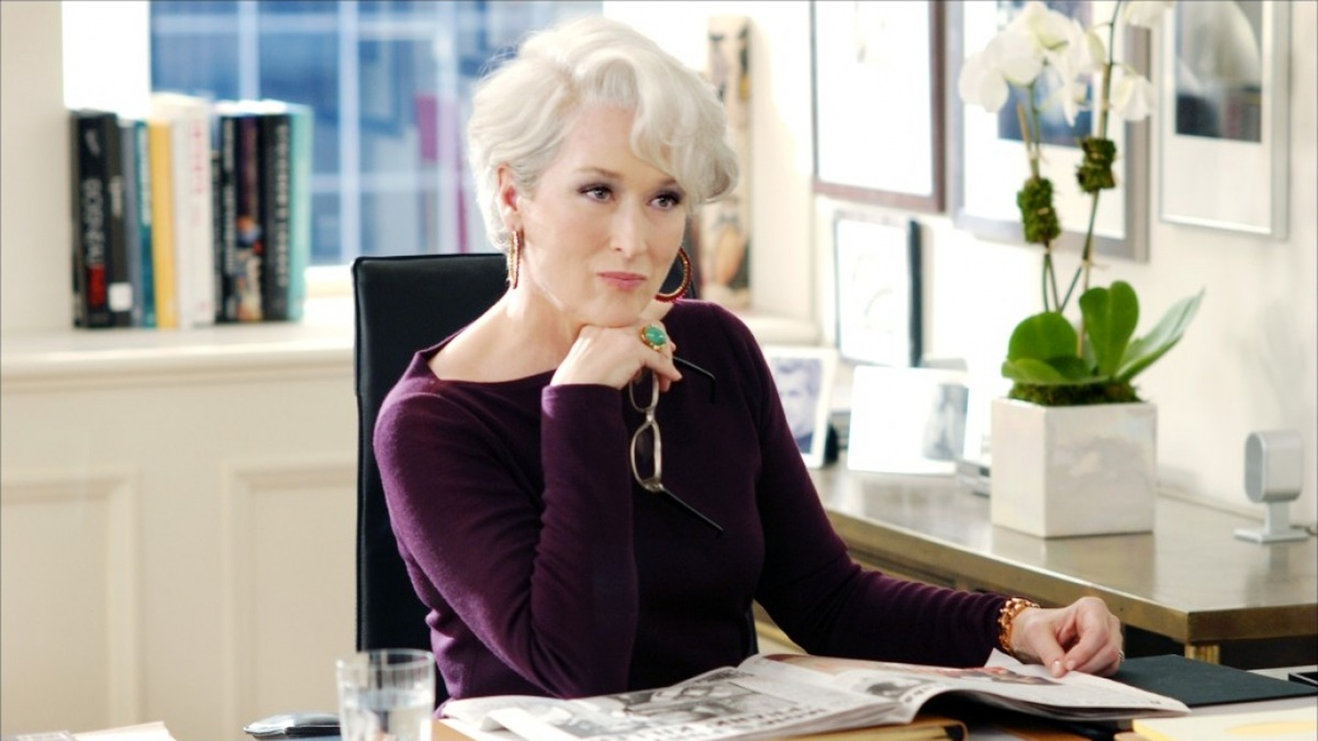 The Sage's shadow in film: Miranda Priestly, The Devil Wears Prada. Loosely based on the real-life editor of Vogue magazine, Priestly's strategic alliances in the fashion industry and no-nonsense attitude allow her to thrive in a ruthlessly competitive industry. Her over identification with the sage make her a cruel boss and insensitive companion.