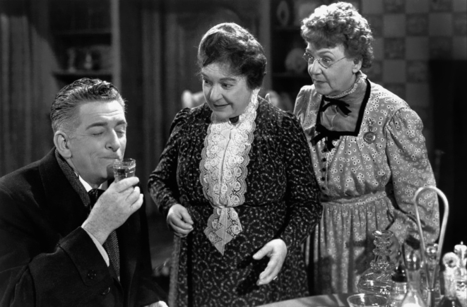 "The Shadow in Film: Abby and Martha Brewster, Arsenic & Old Lace. In this 1944 dark comedy, two elderly sisters are homebodies who have developed the ""very bad habit"" of ending the presumed suffering of lonely old bachelors by serving them elderberry wine laced with arsenic. In this case, the two sisters value home life and solitude, but they are so anti-social and out of touch with human feelings that they display psychopathic behavior."