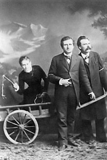 Although staged, this photo capture the true dynamic of Salome's 'intellectual' threesome with Paul Ree and Friedrich Nietzsche.